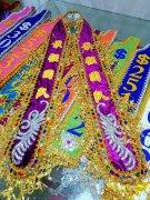 最强团队 紫色高档绶带旗帜制作